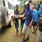 James assists boy found in village with broken arm to hospital.