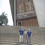 Greg and Matt at National Parliament, Port Moresby